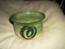 COLLECTABLE MOFFAT POTTERY GLAZED POT DISH RIBBED GREEN BODY 5.5""